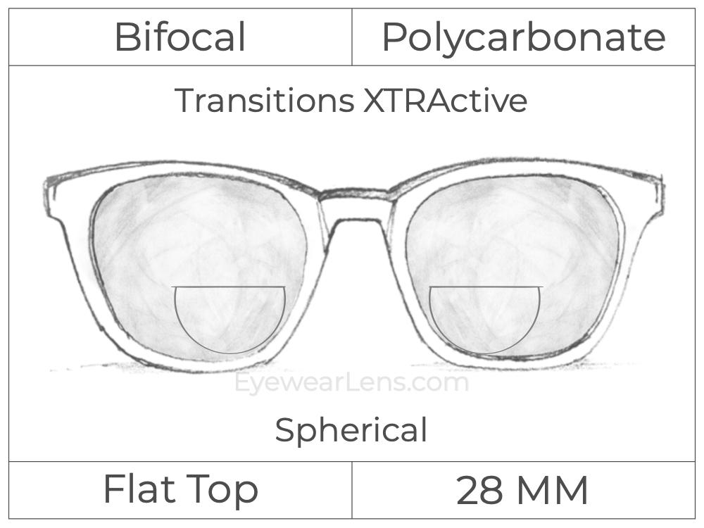 Bifocal - Flat Top 28 - Polycarbonate - Spherical - Transitions XTRActive
