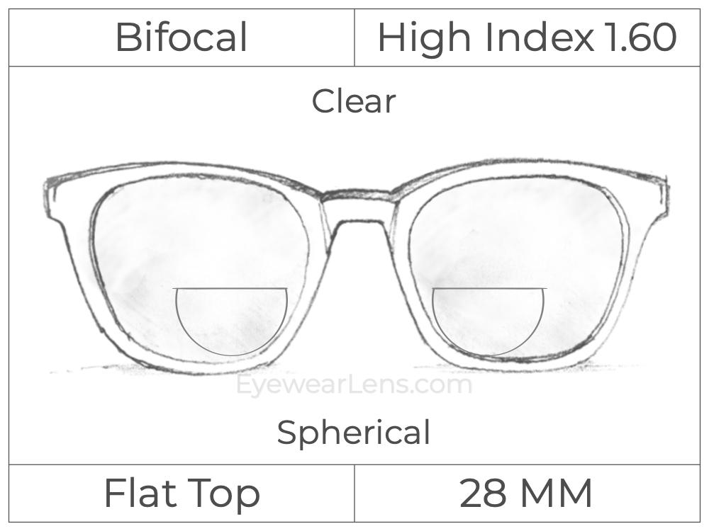 Bifocal - Flat Top 28 - High Index 1.60 - Spherical - Clear