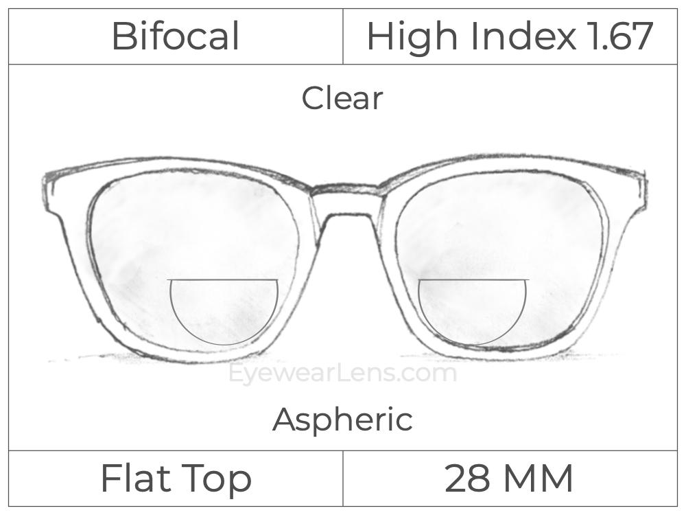 Bifocal - Flat Top 28 - High Index 1.67 - Aspheric - Clear
