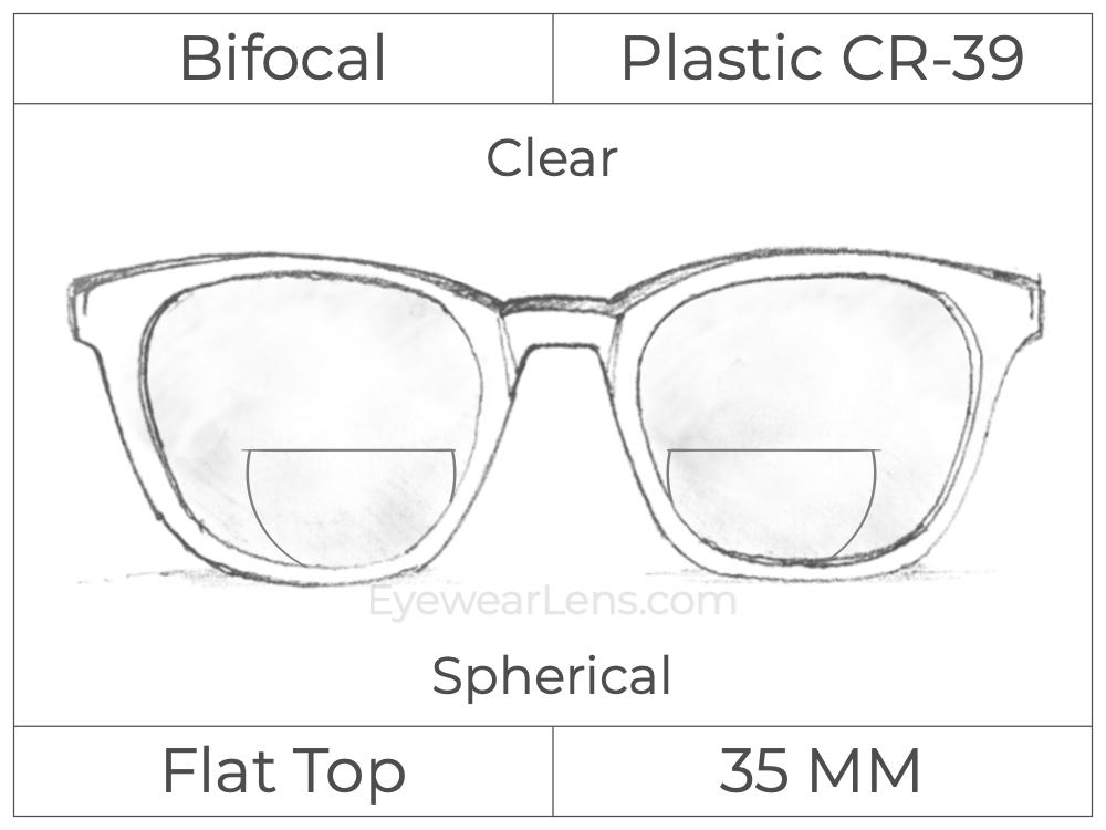 Bifocal - Flat Top 35 - Plastic - Spherical - Clear