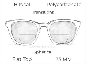 Bifocal - Flat Top 35 - Polycarbonate - Spherical - Transitions Signature