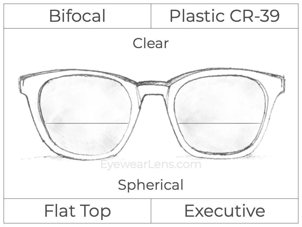 Bifocal - Flat Top Executive - Plastic - Spherical - Clear