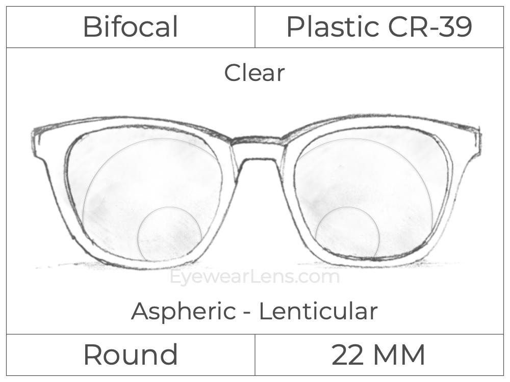 Bifocal - Round 22 - Plastic - Cataract - Aspheric Lenticular - Clear