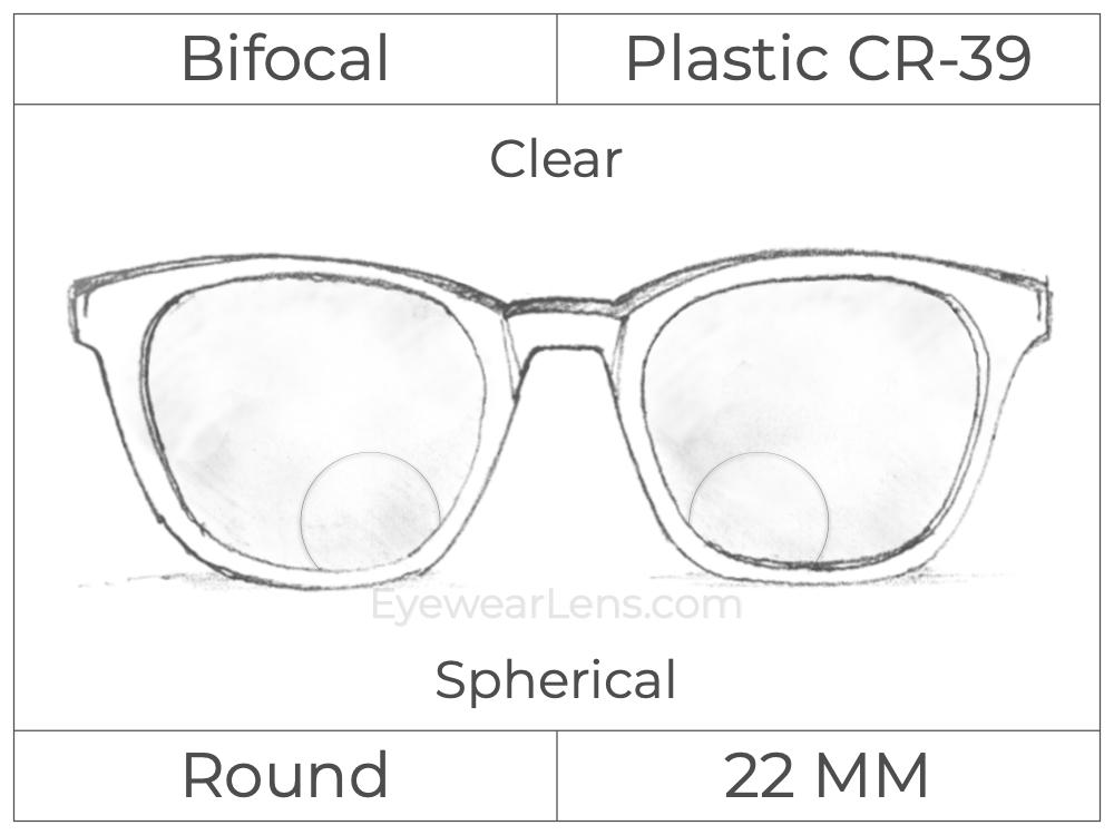 Bifocal - Round 22 - Plastic - Spherical - Clear