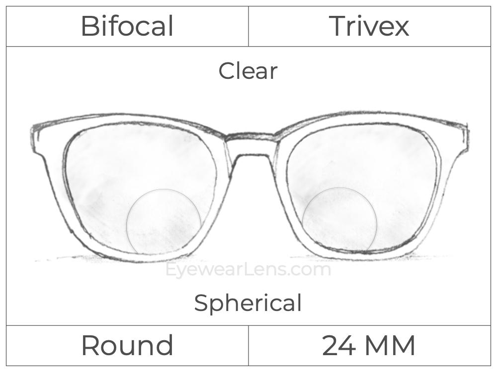 Bifocal - Round 24 - Trivex - Spherical - Clear