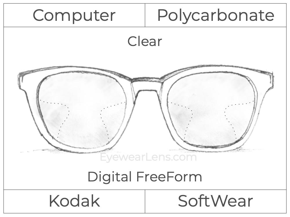 Computer Progressive - Kodak - SoftWear - Digital FreeForm - Polycarbonate - Clear