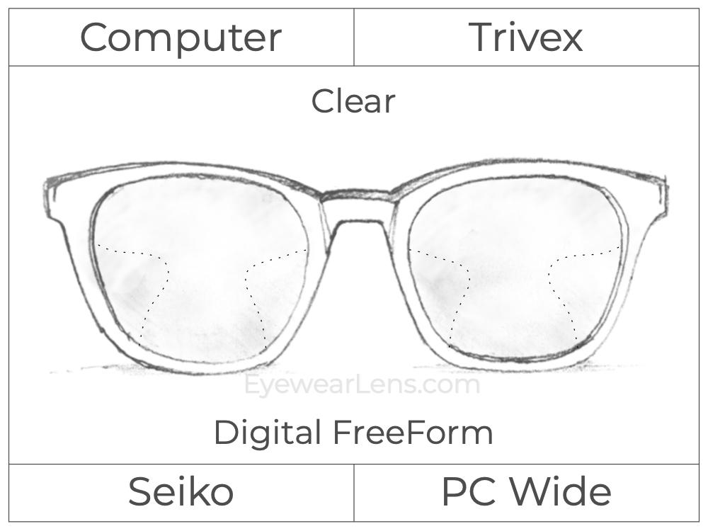 Computer Progressive - Seiko - PC Wide - Digital FreeForm - Trivex - Clear