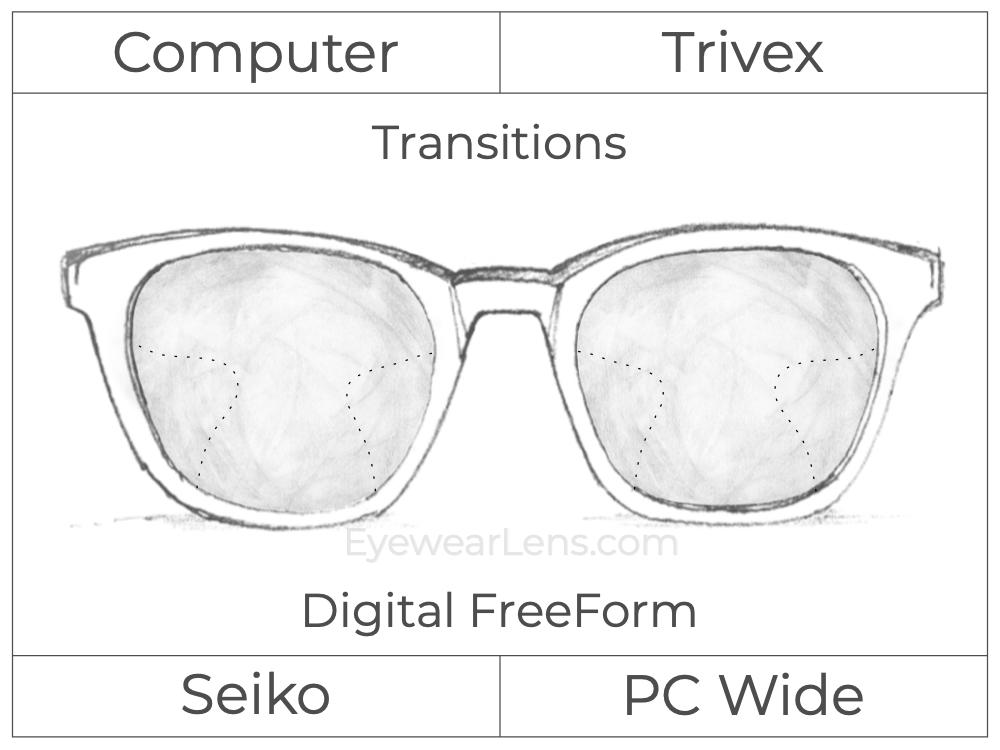 Computer Progressive - Seiko - PC Wide - Digital FreeForm - Trivex - Transitions Signature