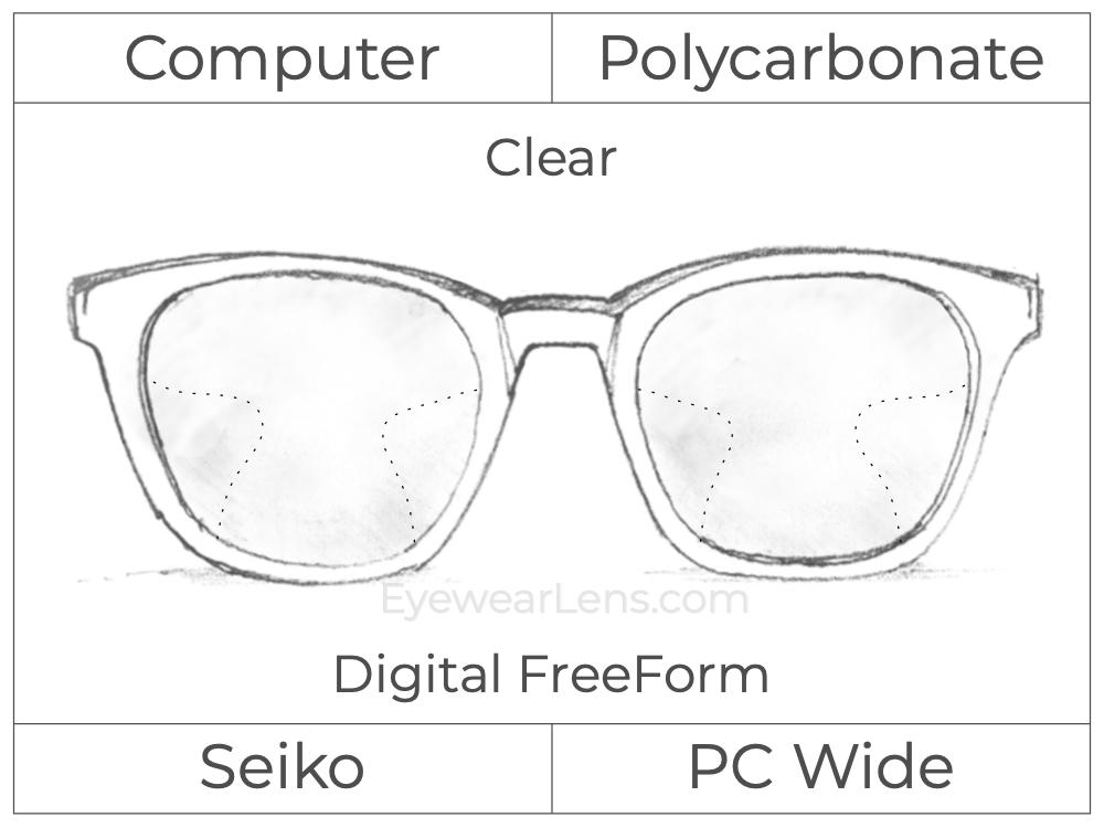 Computer Progressive - Seiko - PC Wide - Digital FreeForm - Polycarbonate - Clear