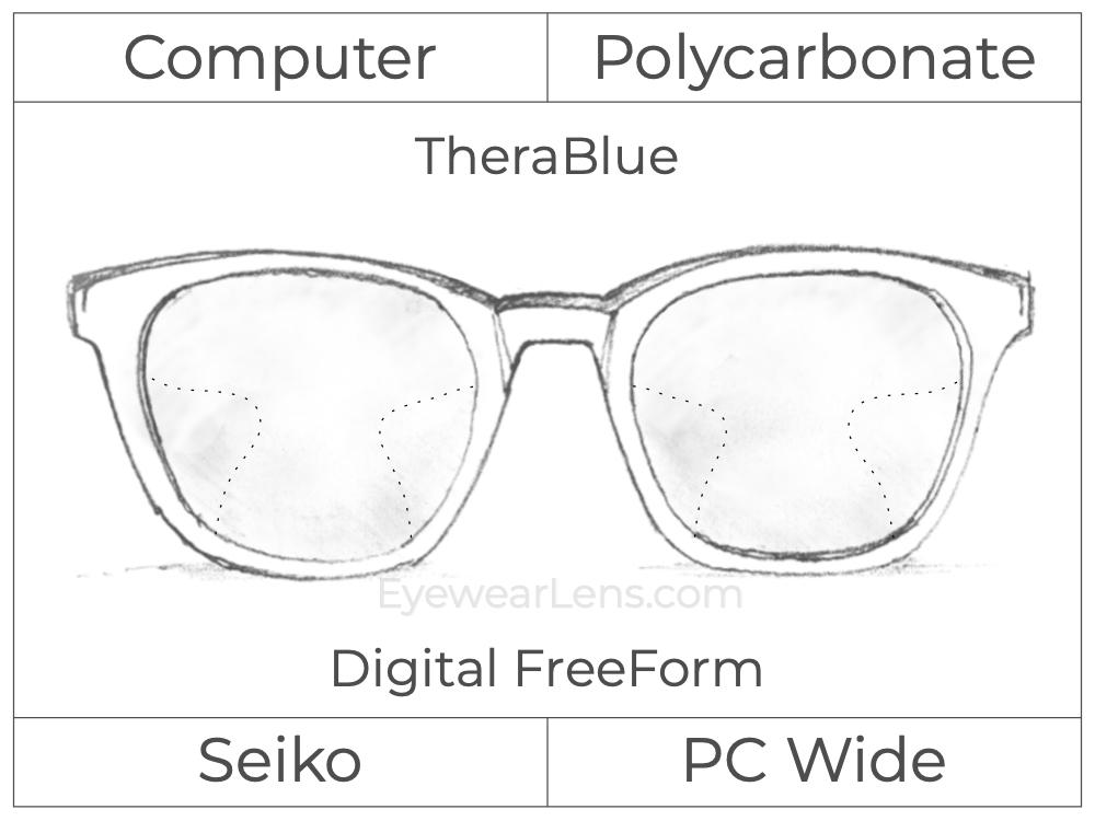 Computer Progressive - Seiko - PC Wide - Digital FreeForm - Polycarbonate - TheraBlue