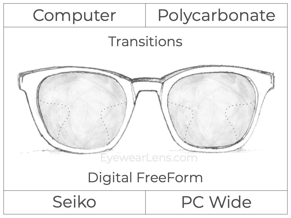 Computer Progressive - Seiko - PC Wide - Digital FreeForm - Polycarbonate - Transitions Signature