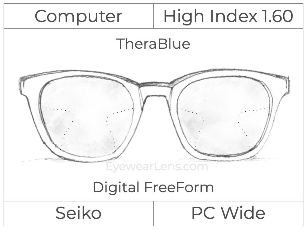 Computer Progressive - Seiko - PC Wide - Digital FreeForm - High Index 1.60 - TheraBlue