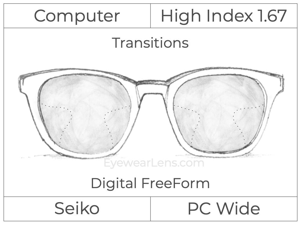 Computer Progressive - Seiko - PC Wide - Digital FreeForm - High Index 1.67 - Transitions Signature