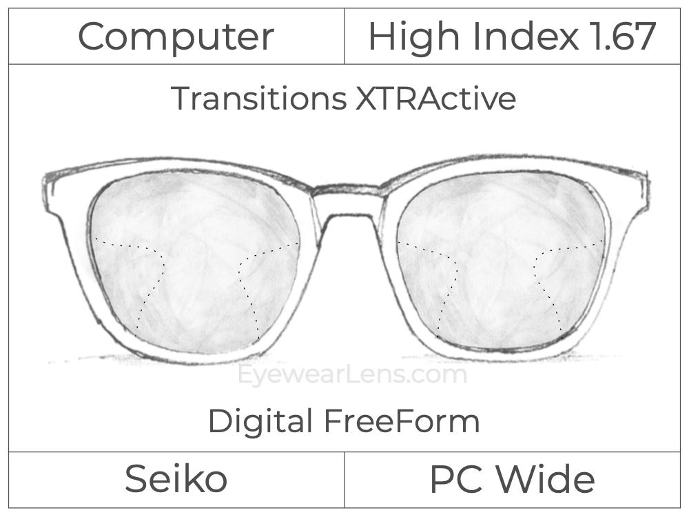 Computer Progressive - Seiko - PC Wide - Digital FreeForm - High Index 1.67 - Transitions XTRActive