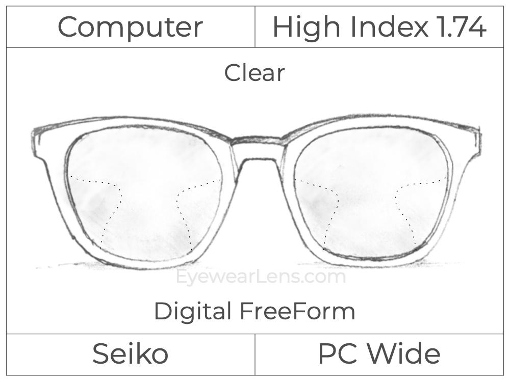 Computer Progressive - Seiko - PC Wide - Digital FreeForm - High Index 1.74 - Clear