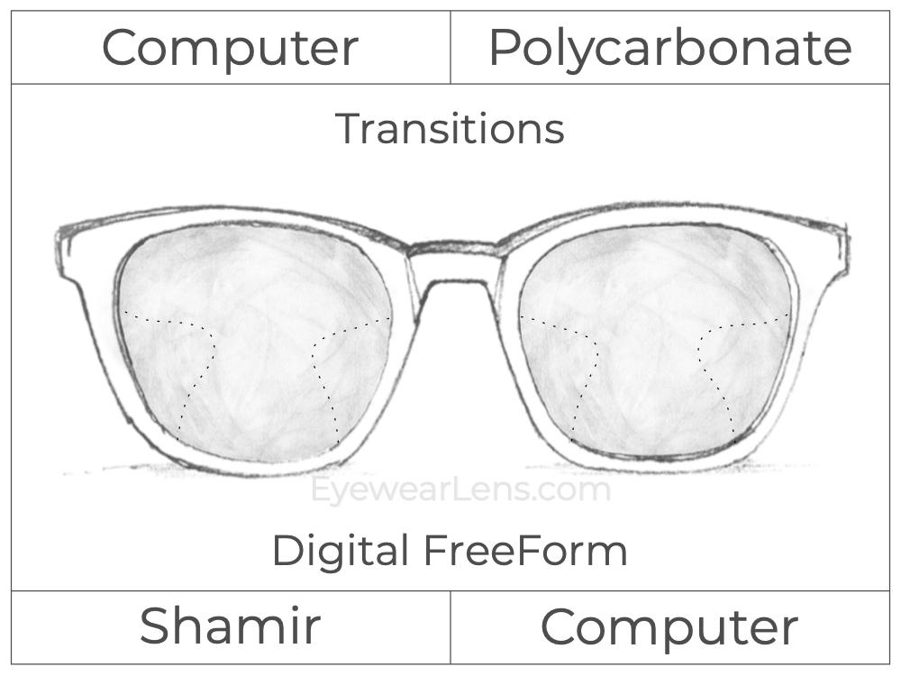 Computer Progressive - Shamir - Computer - Digital FreeForm - Polycarbonate - Transitions Signature