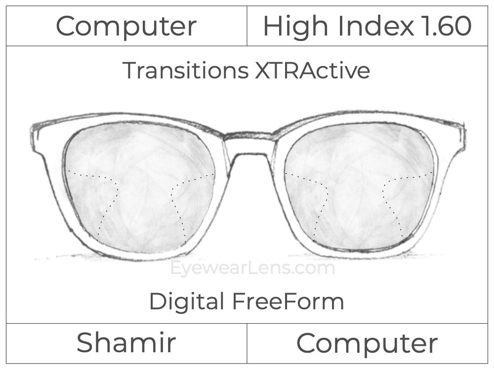 Computer Progressive - Shamir - Computer - Digital FreeForm - High Index 1.60 - Transitions Signature XTRActive