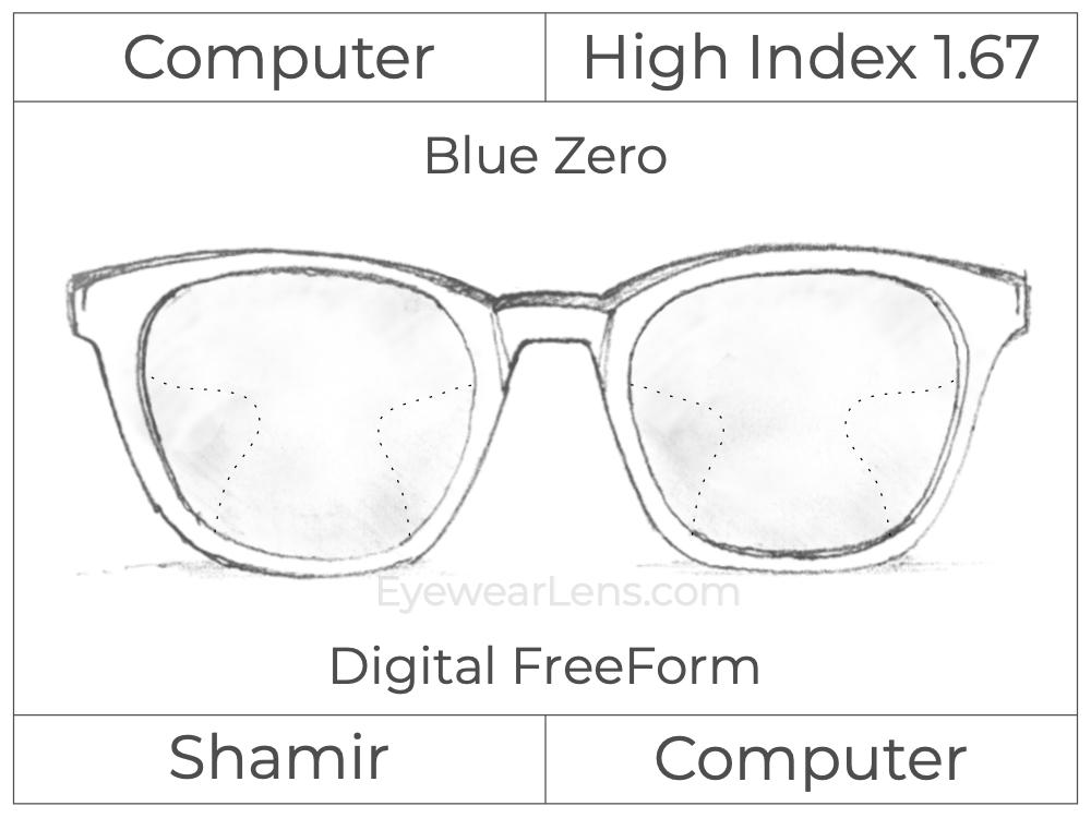 Computer Progressive - Shamir - Computer - Digital FreeForm - High Index 1.67 - Blue Zero
