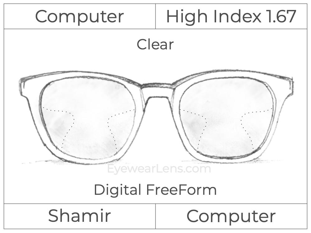 Computer Progressive - Shamir - Computer - Digital FreeForm - High Index 1.67 - Clear