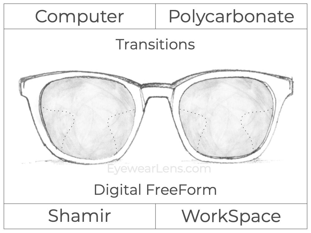 Computer Progressive - Shamir - WorkSpace - Digital FreeForm - Polycarbonate - Transitions Signature