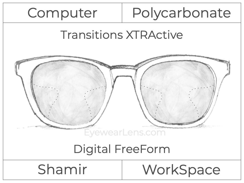 Computer Progressive - Shamir - WorkSpace - Digital FreeForm - Polycarbonate - Transitions XTRActive