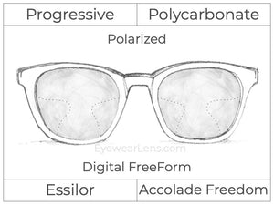 Progressive - Essilor - Accolade Freedom - Digital FreeForm - Polycarbonate - Polarized