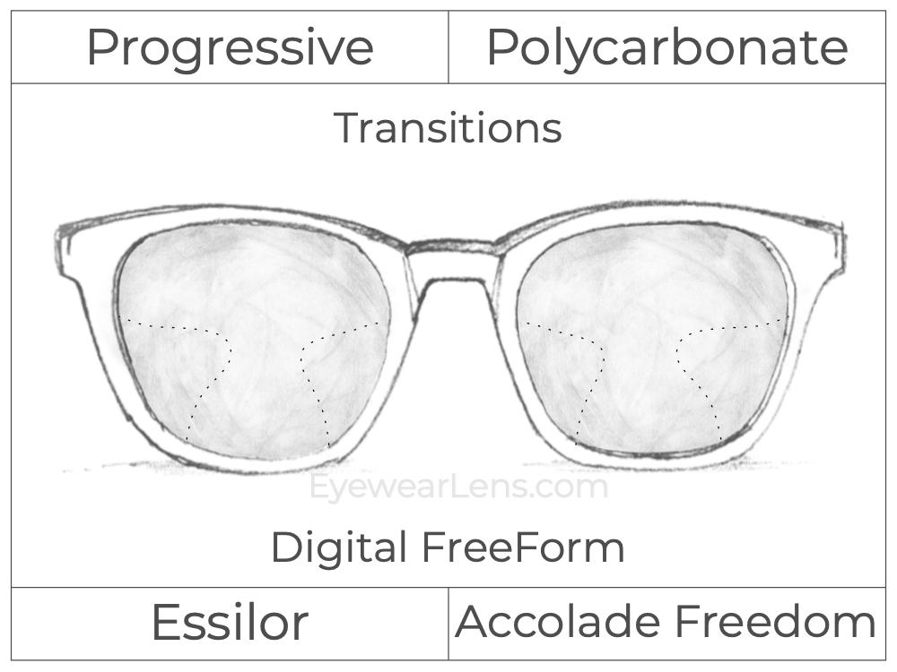 Progressive - Essilor - Accolade Freedom - Digital FreeForm - Polycarbonate - Transitions Signature