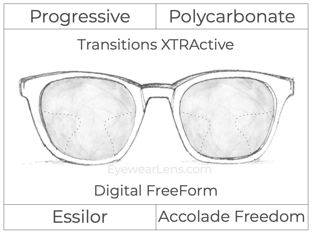 Progressive - Essilor - Accolade Freedom - Digital FreeForm - Polycarbonate - Transitions XTRActive