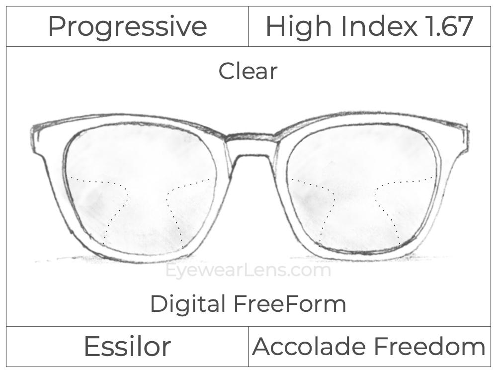 Progressive - Essilor - Accolade Freedom - Digital FreeForm - High Index 1.67 - Clear