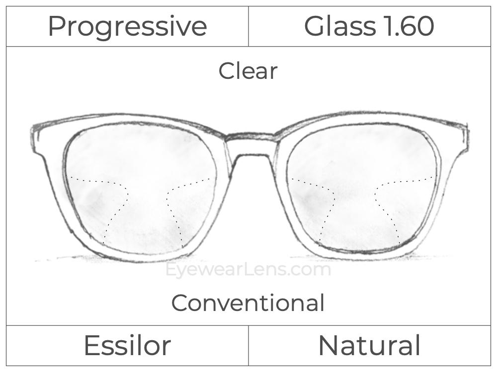 Progressive - Essilor - Natural - Glass - High Index 1.60 - Clear