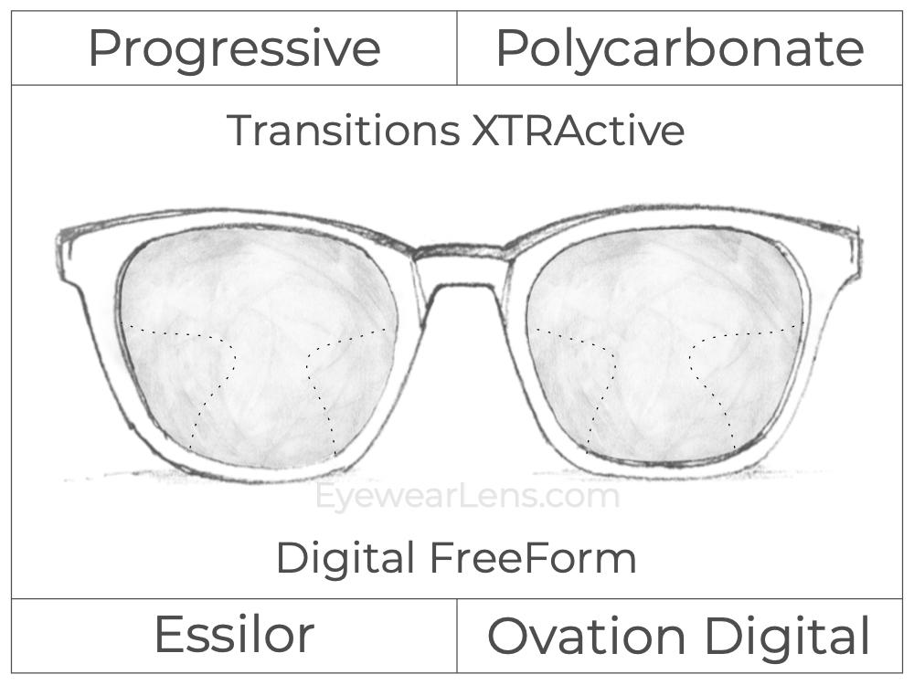 Progressive - Essilor - Ovation Digital - Digital FreeForm - Polycarbonate - Transitions XTRActive