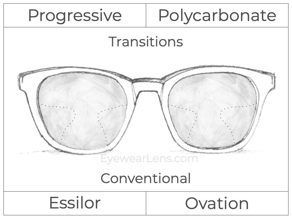 Progressive - Essilor - Ovation - Polycarbonate - Transitions Signature