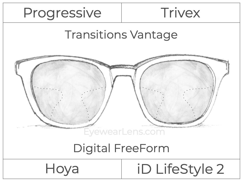 Progressive - Hoya - ID LifeStyle 2 - Digital FreeForm - Trivex - Transitions Vantage