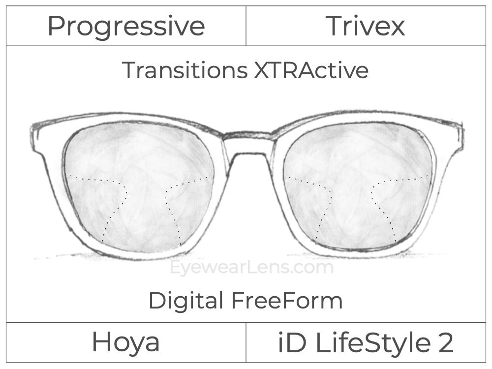 Progressive - Hoya - ID LifeStyle 2 - Digital FreeForm - Trivex - Transitions XTRActive