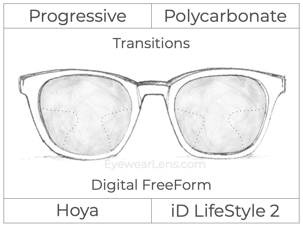 Progressive - Hoya - ID LifeStyle 2 - Digital FreeForm - Polycarbonate - Transitions Signature
