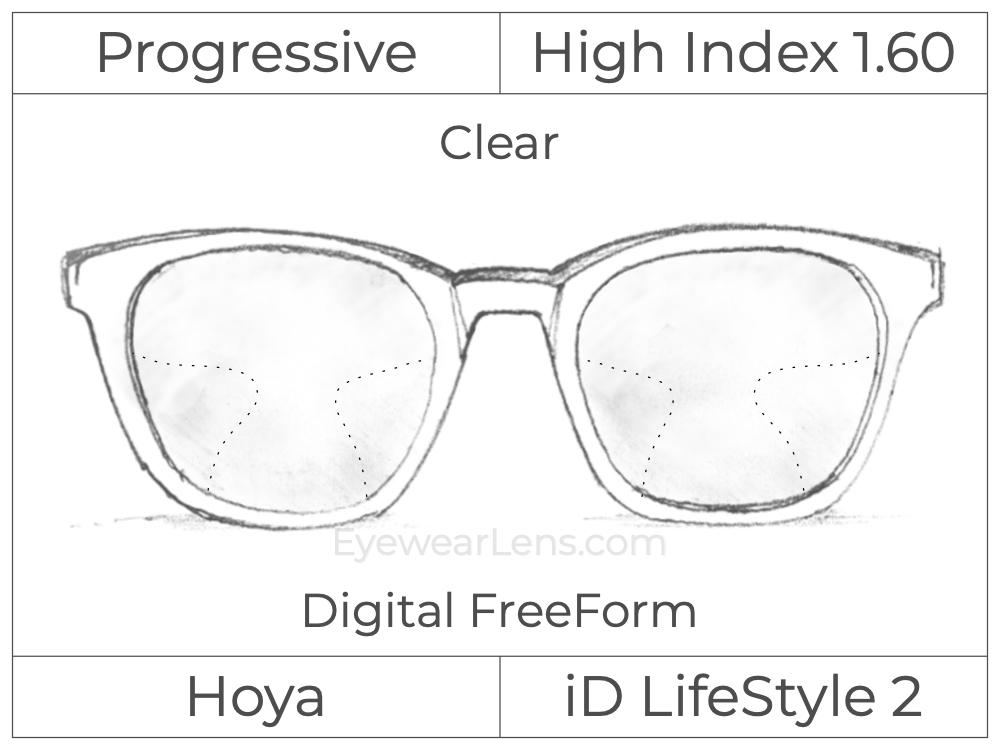 Progressive - Hoya - ID LifeStyle 2 - Digital FreeForm - High Index 1.60 - Clear