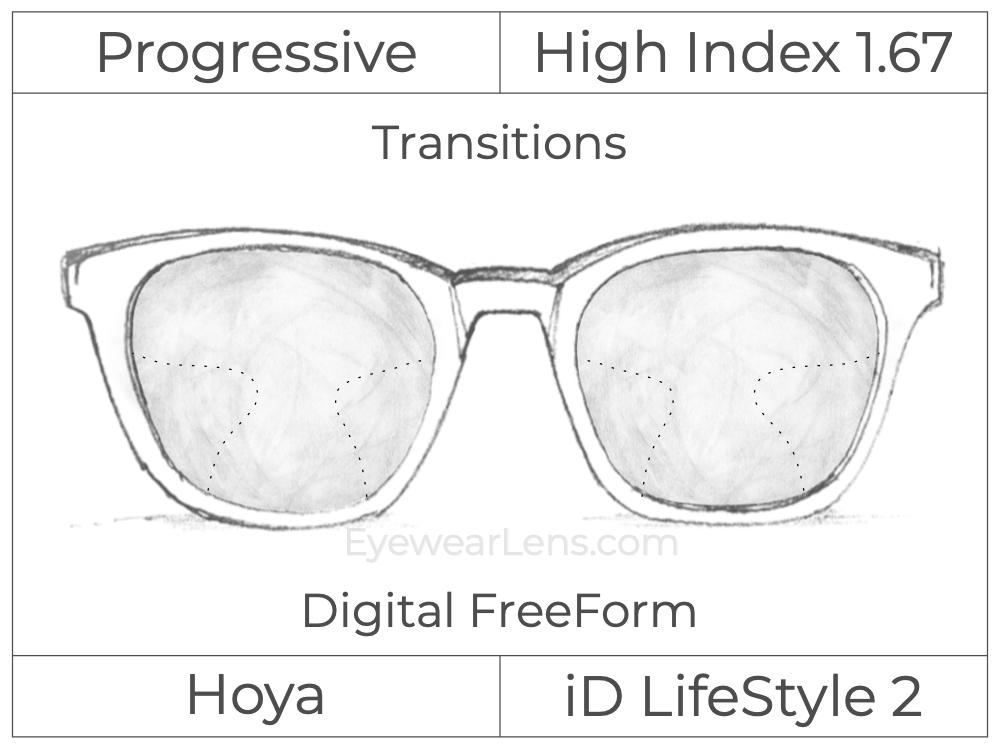 Progressive - Hoya - ID LifeStyle 2 - Digital FreeForm - High Index 1.67 - Transitions Signature