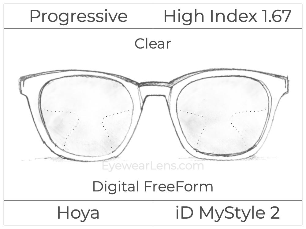 Progressive - Hoya - ID MyStyle - Digital FreeForm - High Index 1.67 - Clear