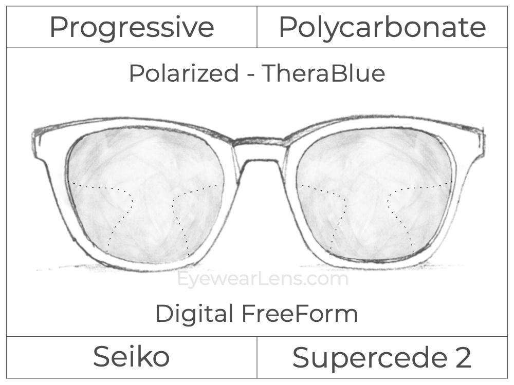 Progressive - Seiko - Supercede 2 - Digital FreeForm - Polycarbonate - Polarized - TheraBlue
