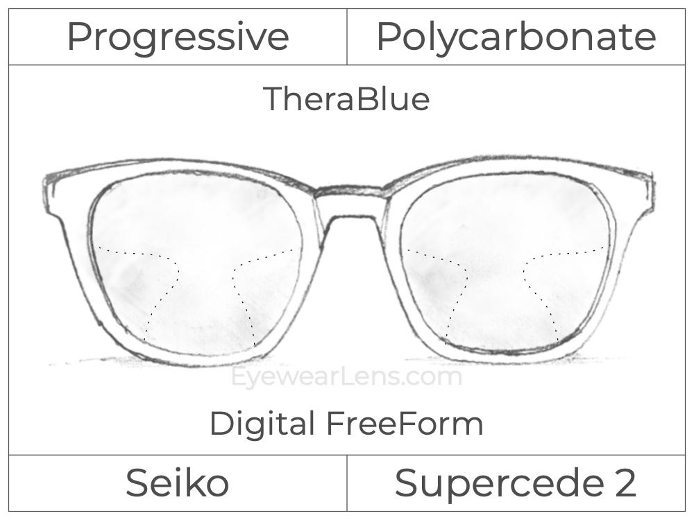 Progressive - Seiko - Supercede 2 - Digital FreeForm - Polycarbonate - TheraBlue