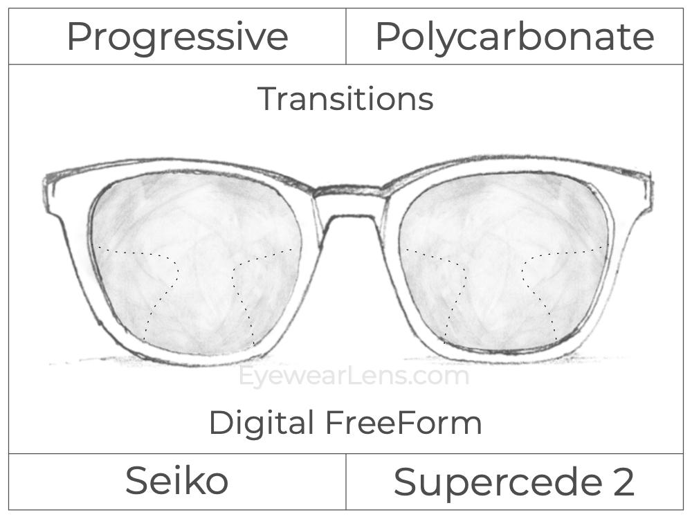 Progressive - Seiko - Supercede 2 - Digital FreeForm - Polycarbonate - Transitions Signature