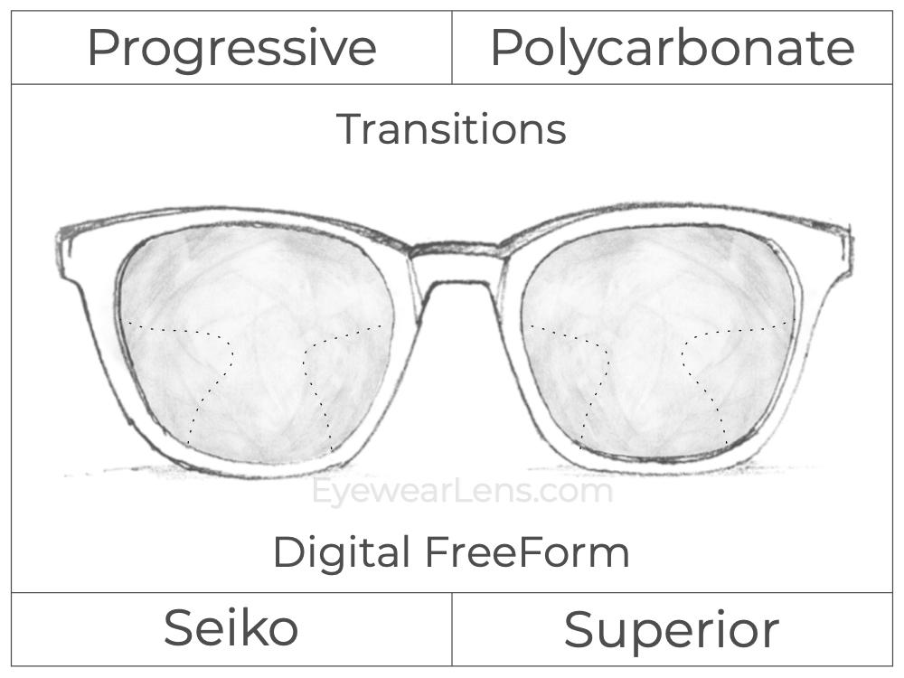Progressive - Seiko - Superior - Digital FreeForm - Polycarbonate - Transitions Signature