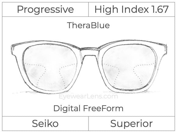 Progressive - Seiko - Superior - Digital FreeForm - High Index 1.67 - TheraBlue