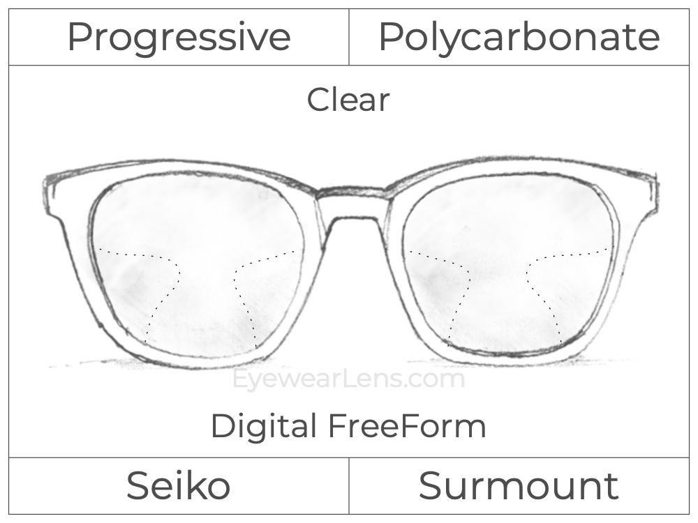 Progressive - Seiko - Surmount - Digital FreeForm - Polycarbonate - Clear