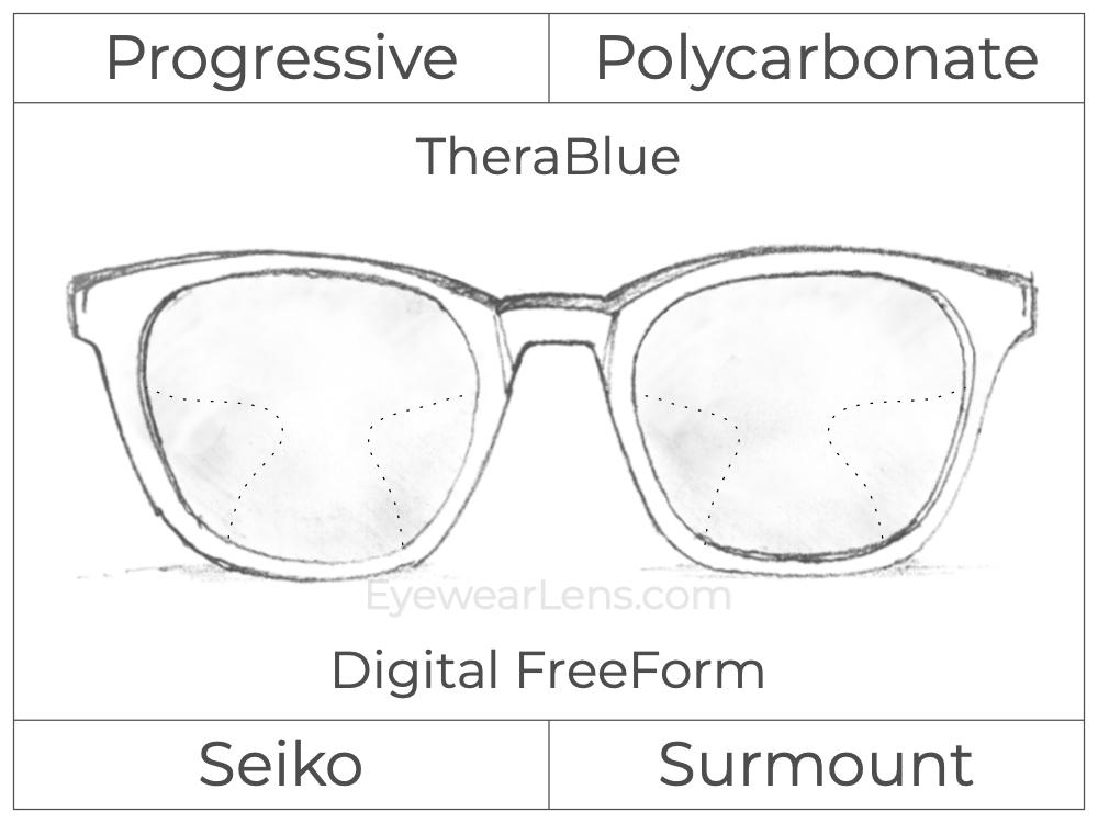 Progressive - Seiko - Surmount - Digital FreeForm - Polycarbonate - TheraBlue