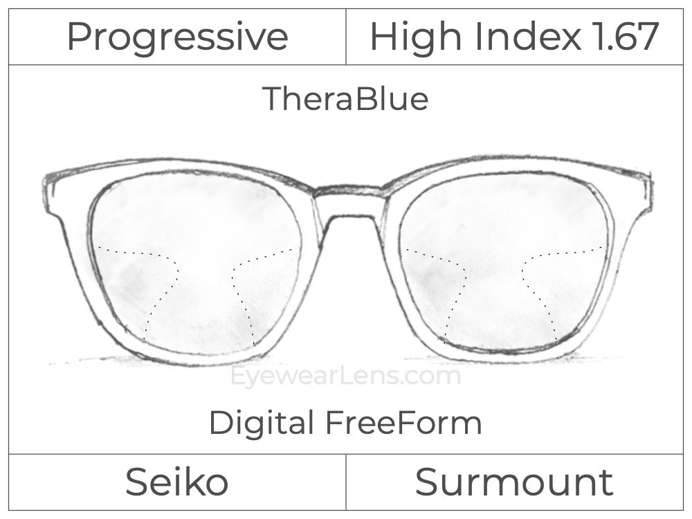 Progressive - Seiko - Surmount - Digital FreeForm - High Index 1.67 - TheraBlue