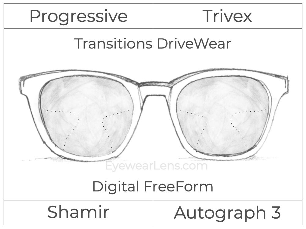 Progressive - Shamir - Autograph 3 - Digital FreeForm - Trivex - Transitions DriveWear