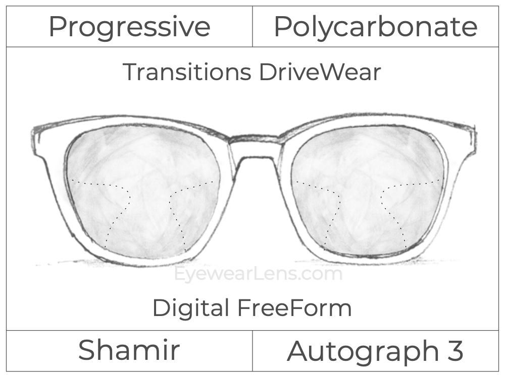 Progressive - Shamir - Autograph 3 - Digital FreeForm - Polycarbonate - Transitions DriveWear