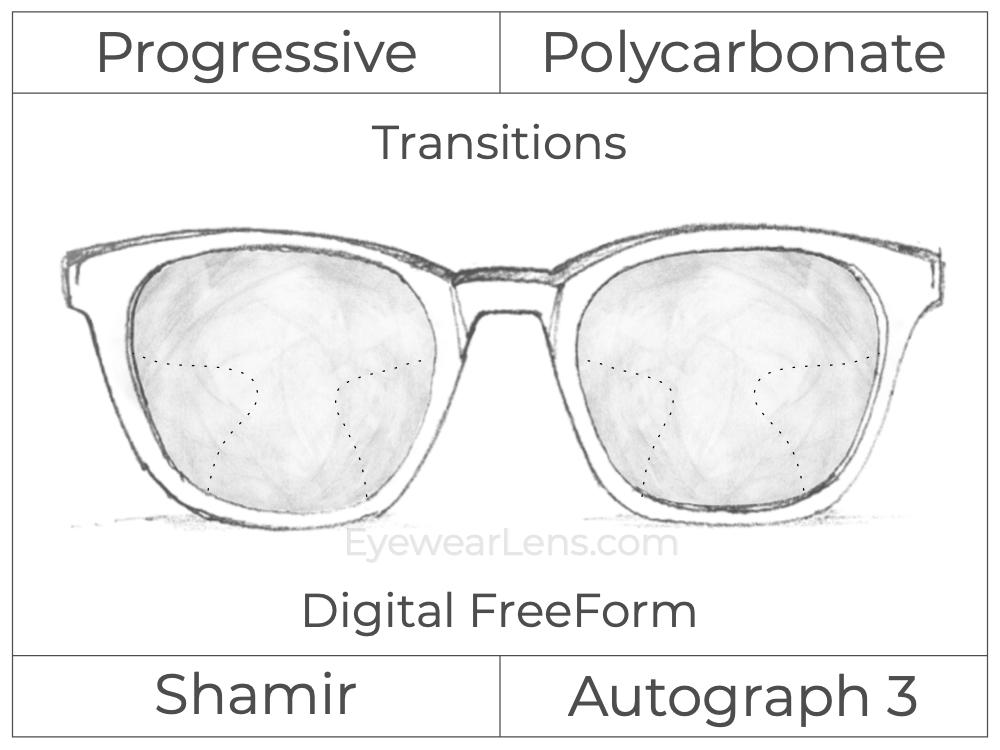 Progressive - Shamir - Autograph 3 - Digital FreeForm - Polycarbonate - Transitions Signature