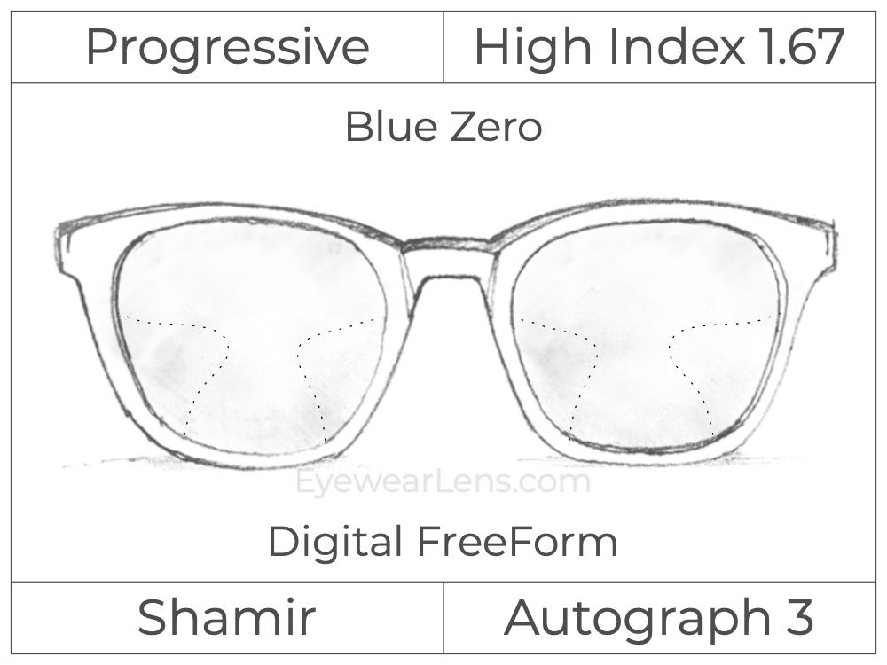 Progressive - Shamir - Autograph 3 - Digital FreeForm - High Index 1.67 - Blue Zero